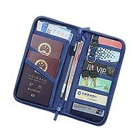 Multi-Function Travel Certificate Wallet Passport Holder &Documents Organizer Zipper Case Dark Blue