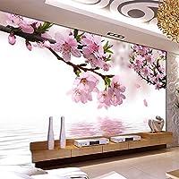 Xbwy ロマンチックな桃の花反射写真壁画の壁紙ダイニングルームのリビングルームの家の装飾不織布の花の3D-350X250Cm