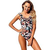 SZIVYSHI One Piece Sleeveless Ruffled Ruffle Hem Deep V Neck Strappy Lace up Floral Padded Swimsuit Monokini