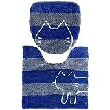 オカ 【ネット限定】 うちねこ トイレ2点セット ( トイレマット + 洗浄フタカバー ) ブルー