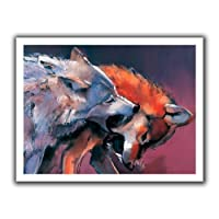 ArtWall Mark Adlington 'Two Wolves' Unwrapped Flat Canvas Artwork 18 by 22-Inch [並行輸入品]