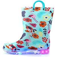 K KomForme Toddler Boy Girl Rain Boots with Light,Kids Shining Shoes with Memory Foam Insole and Easy-on Handles Size: US 7=UK 9