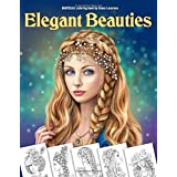 Elegant Beauties Grayscale coloring book: Coloring Book for Adults , Beautiful Hair Designs, Braids and Curls, Ladies  hats,