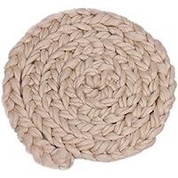 Baoblaze 新生児 ベビーシャワー 出産祝い 誕生日 記念写真 小道具 ロービング 編み込み ウールスピニング ラグ 柔らかい 毛布 敷物 全9色