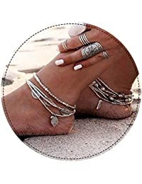 Aukmla Bead Anklet Beach Ankle Bracelet Foot Chain Barefoot Sandal Adjustable for Women and Girls