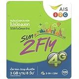 アジア周遊 プリペイド SIMカード!韓国・台湾・シンガポール・インド・日本・ラオス・香港・マレーシア【8日間3GBデータ定額!3G/4G通信】AIS Sim2Fly Sim