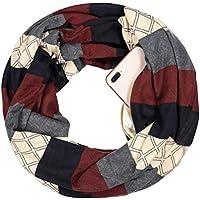 Women Men Geometric Stripe Extreme Soft Stretchy Knit Travel Secure Zipper Pocket Infinity Scarf