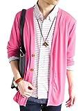 (モノマート) MONO-MART カーディガン ウッド調ボタン カーデ ストレッチ メンズ 7分袖 ピンク ワンサイズ