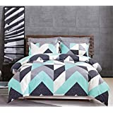 Gioia Casa 100% Cotton Soft Modern City Reversible Geometric Quilt Cover Set Duvet King/Queen Size