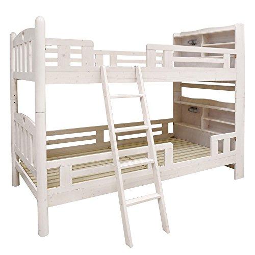 【耐荷重500kg】二段ベッド ファイン-ART (ホワイト) 宮棚・コンセント付き・耐震式・エコ塗装・二段ベッドの優等生