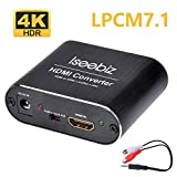 Iseebiz HDMI音声分離器 4K・HDR対応 7.1ch対応 DTS&Dolby5.1 LPCM7.1対応 ARC機能 USB給電式 3.5mm―2RCA変換ケーブル付