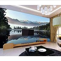 Wuyyii 写真の壁紙壁画ダイニングルームテレビの背景自然の風景緑の山々川の壁紙壁画-400X280Cm