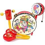 Ourine タンバリンセット 打楽器セット 楽器おもちゃ パーカッションセット 赤ちゃん 音楽おもちゃ カラフル タンバリン カスタネット 知育玩具 子供用 5点 (A)