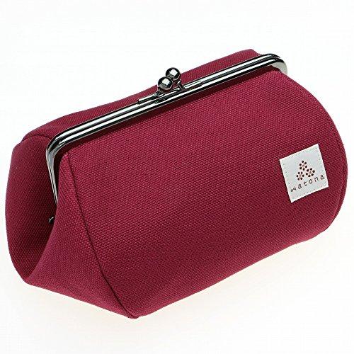 watona 帆布がま口 化粧ポーチ 4.5寸Lサイズ (ボルドー)