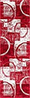 Well Woven AS-30-2 Alana Dulcet Modern Area Rug 2'3 x 7'3 Red [並行輸入品]