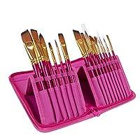 BEESCLOVER 絵筆セット 15本 水彩ブラシオイル アクリル絵画 ナイロン毛 木製ハンドルブラシ キャンバスバッグ付き ピンク