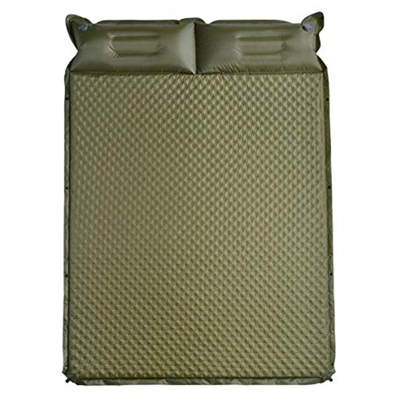 タヒチ名声実際防水キャンプパッド軽量二重自己膨張キャンプパッド付き枕2人用屋外インフレータブルコンパクトエアフォームパディングマットレススリーピングパッド (色 : 緑, サイズ : 75.6*52.7*1.49inches)
