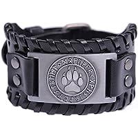 (Antique Silver,Black) - Skyrim Viking Fenrir Wolf Footprints 24 Amulet Runes Talisman Braided Wide Leather Wristband Bracelet