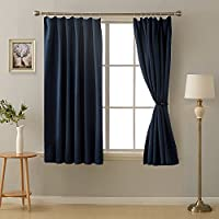 Deconovo 1級遮光 カーテン 全16色 UVカット 断熱 昼夜目隠し 2枚組 幅100cm丈135cm 紺色