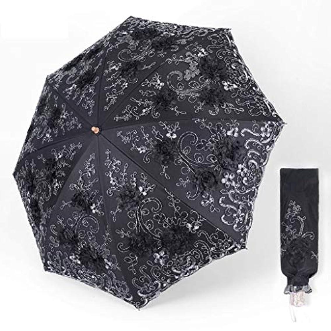 疑わしい認めるバウンドヴィンテージレースuv太陽パラソル折りたたみ3d花刺繍傘、王女オーシャン傘コンパクトポータブル傘デュアル目的 (色 : ブラック)