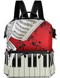 3bb4a80d556b VAWA リュック 大容量 おしゃれ 楽器 ピアノ 音符 楽譜 五線譜 リュックサック 高校生 防水 多機能