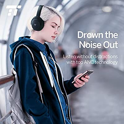 TaoTronics Active Noise Cancelling Bluetooth Headphones Wireless Over Ear Headset Foldable Earphones with Powerful Bass (Dual 40 mm Drivers?30 Hour Playtime, CVC 6.0 Noise-Cancelling Built-in Mic)