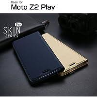 Moto Z2 Play ケース 手帳型 レザー シンプル スリム モト Z2 プレイ 手帳タイプ レザーケース Motorola おすすめ おしゃれ アンドロイド スマホケース 良品IT (ロイヤルブルー)