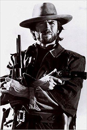 クリント・イーストウッドGunsムービーStill 36 x 24アートプリントポスターブラックandホワイト写真Western Cowboy