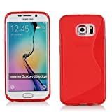 Galaxy S6 edge ケース TPU グリップ [ docomo SC-04G / au SCV31 / Samsung ギャラクシーエス6 エッジ SIMフリー 対応 ] Grip Design Cover Case 落下防止 ソフト軽量 フィットカバー【 Design S Red (赤)】…