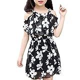 Snoneおしゃれ キッズ ワンピース 夏服 シフォン 女の子ド レス ストラップレス 綺麗な 花柄 プリントスカート