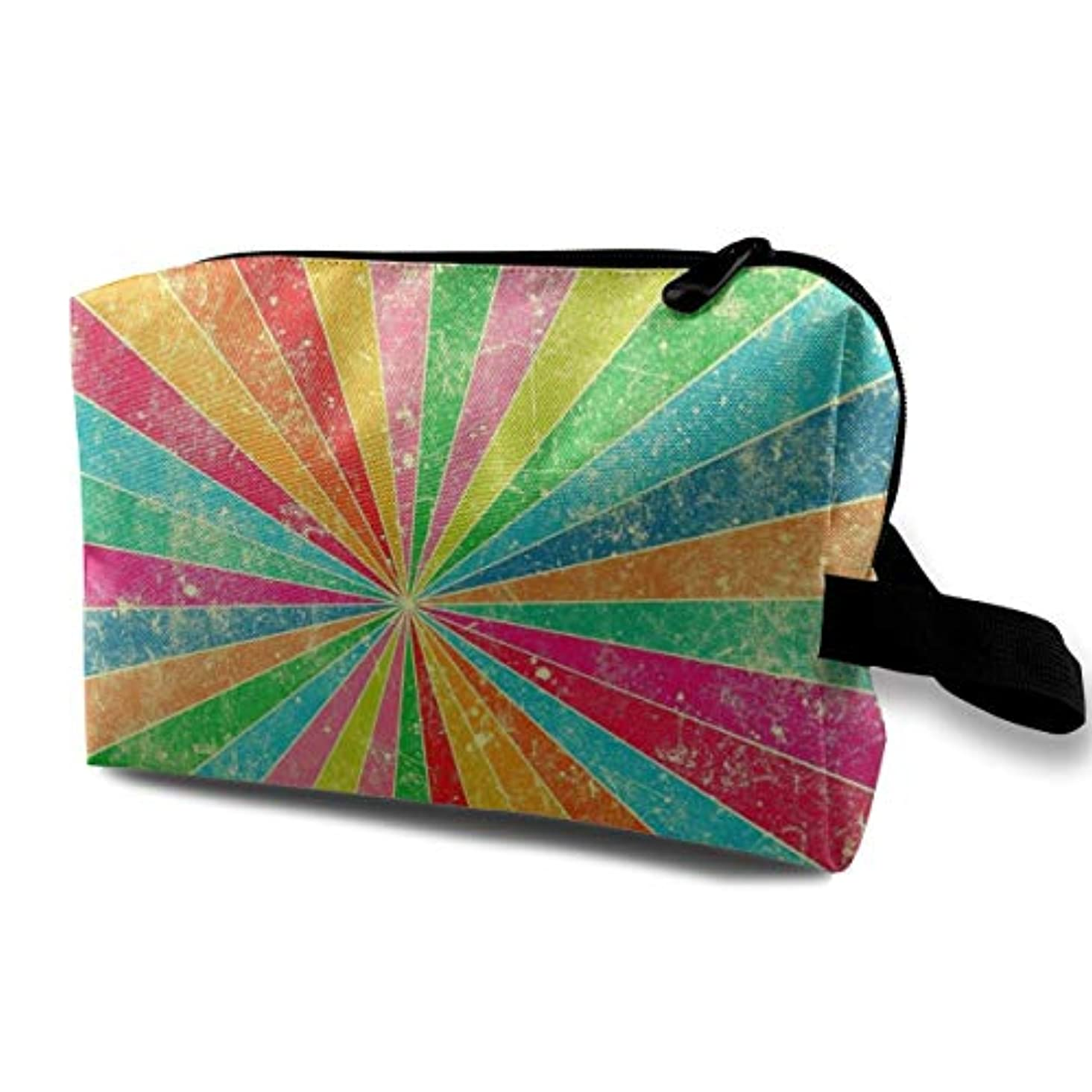 アヒル乱雑な邪魔するArtistic Rainbow 収納ポーチ 化粧ポーチ 大容量 軽量 耐久性 ハンドル付持ち運び便利。入れ 自宅?出張?旅行?アウトドア撮影などに対応。メンズ レディース トラベルグッズ