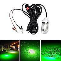 Qili LED水中釣りライト12V 15W 1000ルーメンフィッシュライトラフト釣りライト防水IP67 バッテリクリップと5M電源コード付き
