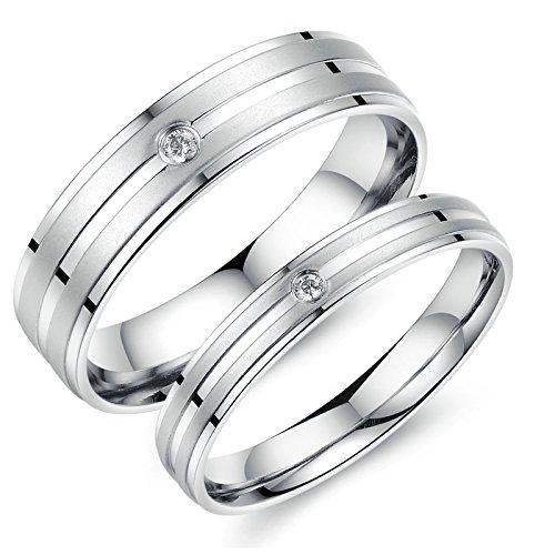 [해외]Aooaz 블랙 2 x 웨딩 페어링 스테인레스 밴드 실버 큐빅 반지 무료 각인/Aooaz Black 2 x Wedding Ring Pairing Stainless Steel Band Silver Zirconia Ring Free Engraving