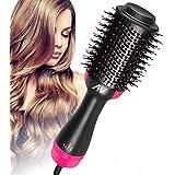 AU Plag Hot Air Brush,One Step Hair Dryer & Volumizer Hair Dryer & Volumizing Styler Comb 3-in-1 Negative Ion Straightening Brush Salon Hair Straightener Brush Curler for All Hair Types(Rose Red)