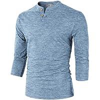 H2H Mens Casual Slim Fit Henley T-Shirt 3/4 Sleeve Basic Designed