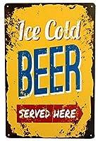 Jocar 壁の装飾牌のデザインここでヴィンテージレトロな氷の冷たいビールを提供パブ、カフェ、ホテルアルミニウムのブランドのバーの店のガソリンスタンドの家の室内の室外の装飾の札