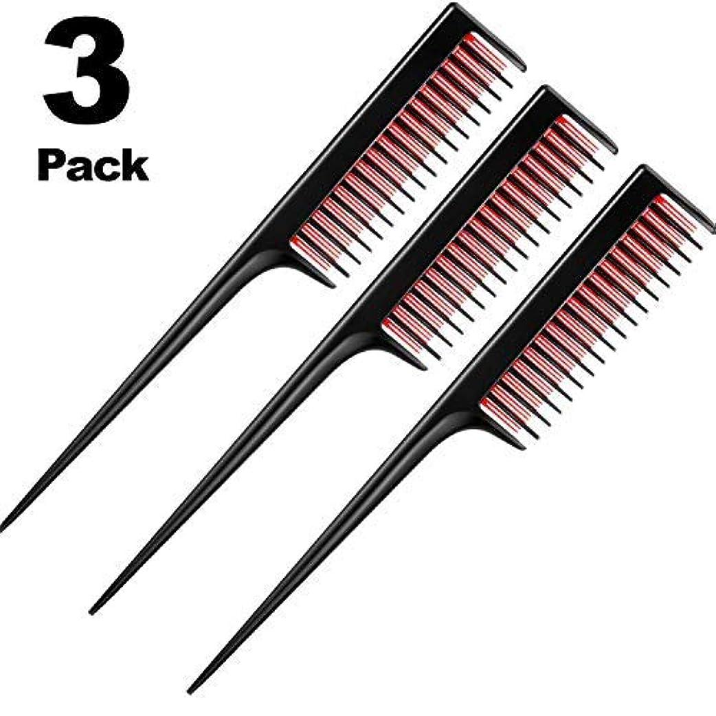 ゆりかごくつろぐ恐怖3 Piece Triple Teasing Comb, rat tail combs for women,Tool Structure Tease Layers Rattail Comb,Rat Tail Comb for...