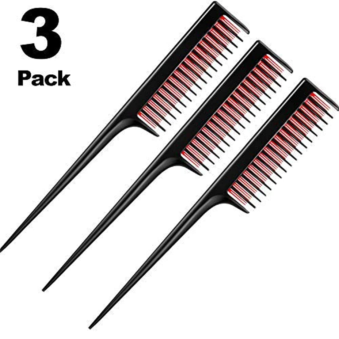 3 Piece Triple Teasing Comb, rat tail combs for women,Tool Structure Tease Layers Rattail Comb,Rat Tail Comb for...