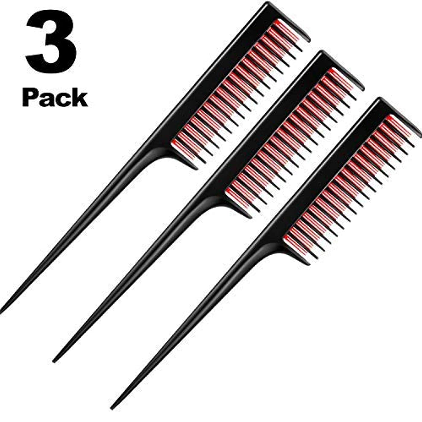 発生塩透けて見える3 Piece Triple Teasing Comb, rat tail combs for women,Tool Structure Tease Layers Rattail Comb,Rat Tail Comb for...