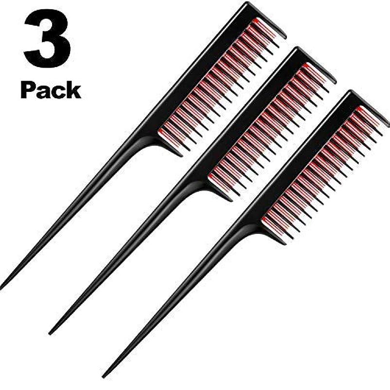 アブストラクト作家目に見える3 Piece Triple Teasing Comb, rat tail combs for women,Tool Structure Tease Layers Rattail Comb,Rat Tail Comb for...