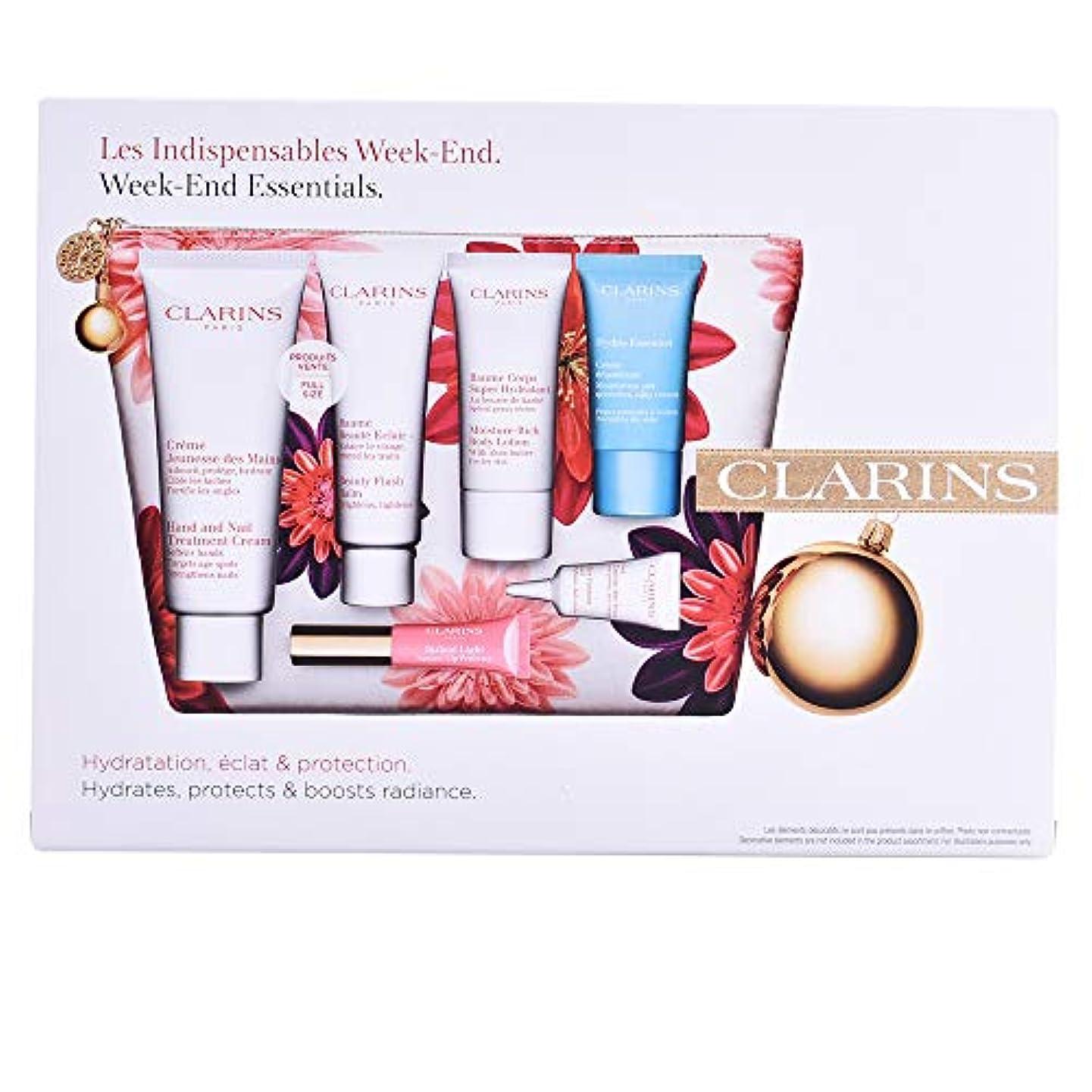 農業の後ろ、背後、背面(部抱擁クラランス Week-End Essentials: Hand & Nail Cream+Beauty Flash Balm+Moisture-Rich Body+Eye Contour Gel+Hydra-Essentiel...