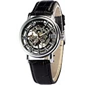 AMPM24 シルバー ケース ローマ文字 スケルトン メンズ 手巻き機械式 レザーバンド 腕時計PMW243