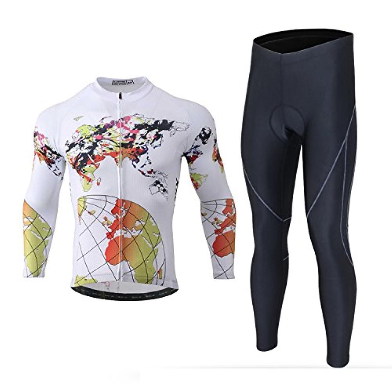 打撃虫出費LSERVER 長袖 サイクルジャージ メンズ 上下 セット 3Dゲルパッド付き サイクリングウェア サイクルウエア レーサー?競技?ロードバイク服 自転車ウェア