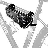 OTraki フレームバッグ 防水 自転車 ロードバイク用 三層 コンパクト サイクリングバッグ 携帯 スマホ アクセサリー収納 1L 取り外し簡単 トップチューブバッグ 多機能 自転車用品 小物ポーチ ブラック