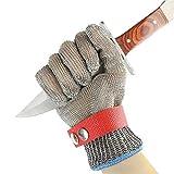 Umiwe 316lステンレス鋼ワイヤー肉屋手袋カット耐性チェーンメール手袋キッチン肉屋作業安全手袋