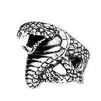 【AnaZoz】リング メンズ ステレンス 316L アジア風 パンクスタイル スネーク 蛇 コブラ シルバー 誕生日 婚約 結婚式 指輪日本サイズ: 28
