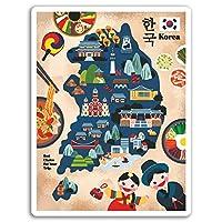 2×10センチメートル韓国地図ビニールステッカー - アジアトラベルステッカーノートパソコンの荷物の#17288(10センチメートルトール)