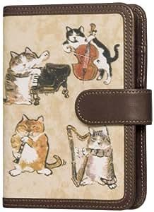 セーラー マンハッタナーズ 牛革システム手帳 猫演奏家 こげ茶  B7 6穴 66-4708-003
