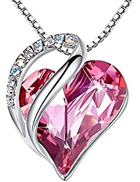 """[Presented by Miss New York] Leafael Infinity Love Made with Swarovski Crystals Heart Pendant Necklace, Silver-Tone, 17""""+2"""", Nickel/Lead/Allergy Free, Luxury Gift Box"""