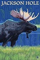 ジャクソン穴、ワイオミング州–Moose at Night 12 x 18 Signed Art Print LANT-32648-708
